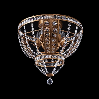 Delicate Wrought Iron Frame Adorned with Crystal Beads Add Glamour to Decorative Flushmount Ceiling Light