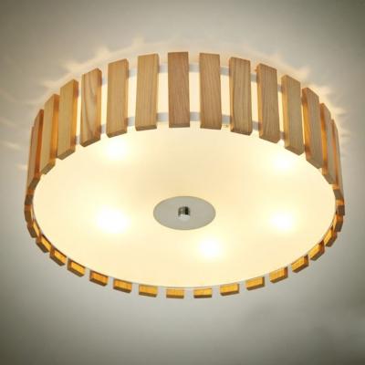 Drum shaded wood battens designer flush mount ceiling lights aloadofball Images