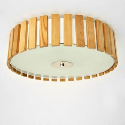 drum shaded wood battens designer flush mount ceiling lights