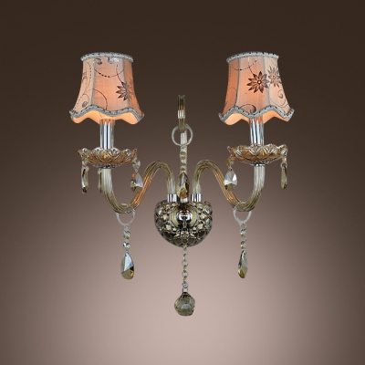 Elegant Wall Light Fixture Completed with White Fabric Shade and Clear Lead Crystal Droplets