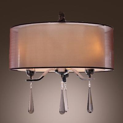 Elegantly Brown Sheer Shade Clear Crystal Drops 3-Light Modern Chandelier