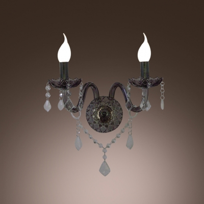 European Style Brilliant Wall Sconce Completed with Graceful Crystal Scrolling Arms and Decorative Detailing