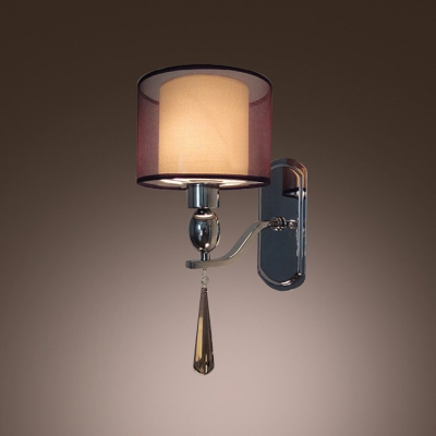 Glamorous Contemporary Wall Sconce Adorned with Faceted Crystal Makes Great Decor Element