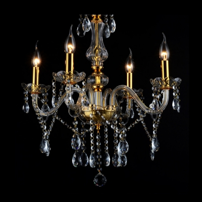 Golden Luxurious Four Lights Dainty Crystal Droplets Classic Style Living Room Chandelier