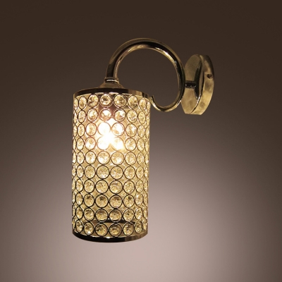 Graceful Scrolls and Cylinder Frame Adorned with Diamond Crystal Wall Sconce