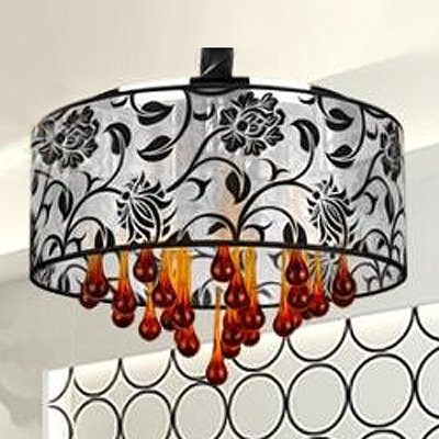 Gracefully Red Crystal Teardrops Flower Pattern Drum Shade Modern Large Pendant