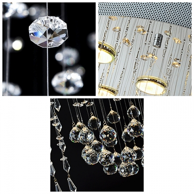 Hanging Hand Cut Clear Crystal Droplets and Balls Round Canopy Chandelier Lighting