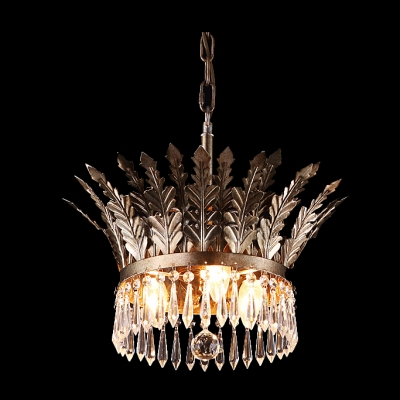 Modern and Enticing Chandelier Features Stunning Design Finished in Brass Hanging Faceted Crystals