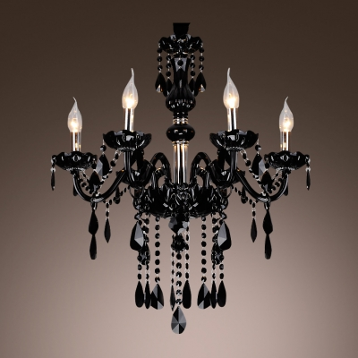 Mysterious Black Williamsburg Style Six Lights Chandelier