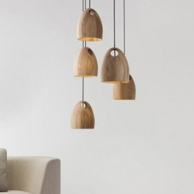 Natural Style Solid Wood Designer Mini Pendant Light for Dining Room