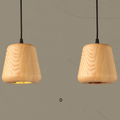 Novelty Gourd Shaped Solid Wood Design Mini Pendant Light In Modern Style