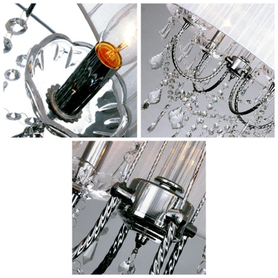 Soft and Graceful 4-Light Metal Curved Arms Hanging Clear Crystal Droplets 18.1