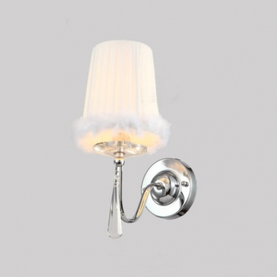 Soft Nap Brimmed White Fabric Shade and Faceted Crystal Drop Add Charm to Elegant Delightful Single Light Wall Sconce