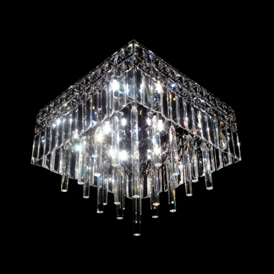 Sparkling Clear Crystal Glass Rods Falling Square Flush Mount Lighting