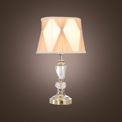 Sparkling Contemporary Table Lamp Provides Glimmering  Tapered Crystal Column-style Center