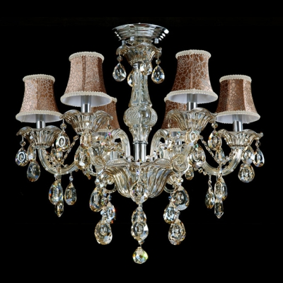 Sparkling Hand Cut Rock Crystal Drops Beautiful Pattern Bell Shades 6-Light Classic Chandelier