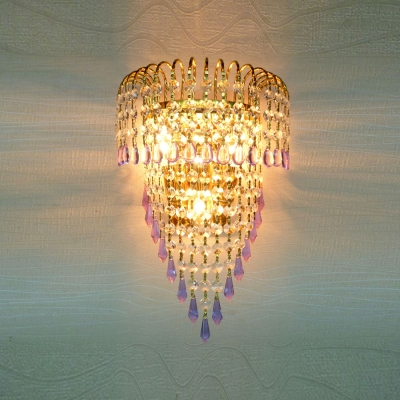 Wonderful Gold Finish and Beautiful Crystal Falls Enhanced Glamorous Wall Sconce Contemporary Look