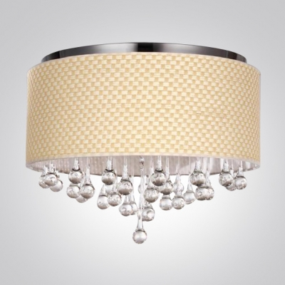 5-Light Flush Mount Finished in Chrome Dropped Stunning Clear Crystal Teardrops