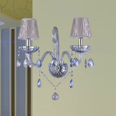 Beautiful Curving Scrolling Arms and Silver Fabric Shades Add Charm to Sophisticated Two Light Wall Sconce