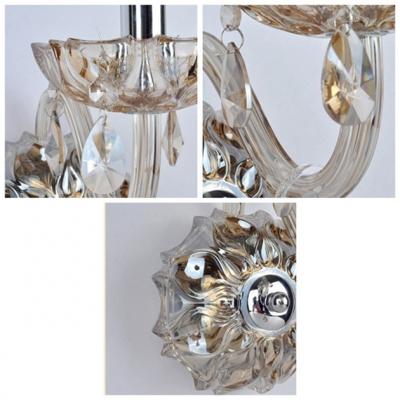 Beautiful Single Candle-Style Light Wall Sconce Features Delicate Crystal Back Plate