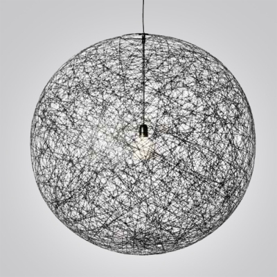 Linen Wire Globe Pendant In Country Style 1-light Black Colored ...