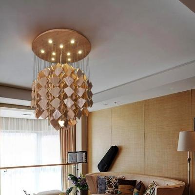 "Bold and Chic 31.5""Wide Designer Large Pendant Light Hanging Woods"