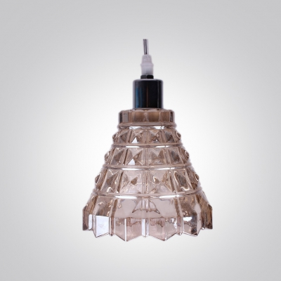 Bold Design Bell Shaded Mini Pendant Light Embedded with Clear Crystal Squares