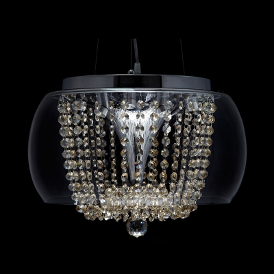 Brilliant Design Clear Glass Outer Shade Amber Crystal Strands and Ball Large Pendant