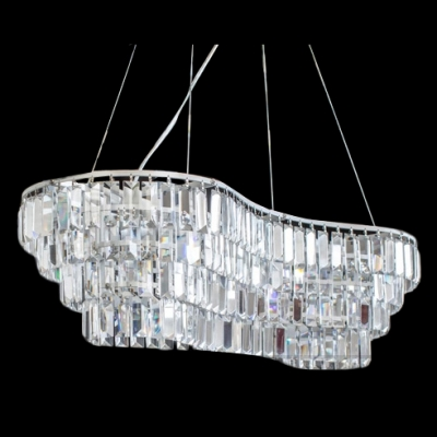 Chrome Finish Frame and Clear Prism Crystal  Add Glamour to Contemporary Island Lighting