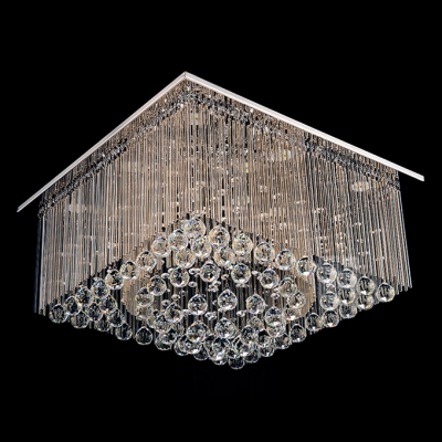 Clear Cluster of Crystal Globes and Crystal Glass Rods Falling Beautiful Design Flush Mount
