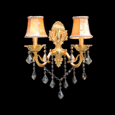 Contemporary Brilliant  Wall Sconce with Hand-cut Crystal Drops Offers Warm Illumination with Gold Finish and Orange Fabric Shades