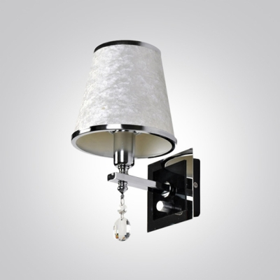 Contemporary Silver Finish and Crystal Accent Made Gorgeous Wall Sconce with Pure White Fabric Shade