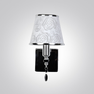 Contemporary Silver Finish and Unique Black Crystal Drop Composed Dazzling Wall Sconce with Rose Motif Fabric Shade