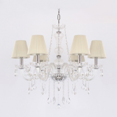 Cream Colored Fabric Bell Shade Clear Crystal Strands and Droplets Cascades 6-Light Chandelier