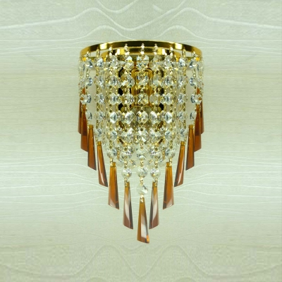 Dainty Contemporary Gold Finish Frame and Strands of Clear Crystal Beads Composed Luxurious One-light  Wall Washer