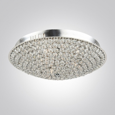 Dazzling Clear Crystal Beaded Accents and Stainless Steel Chrome Finished Flush Mount
