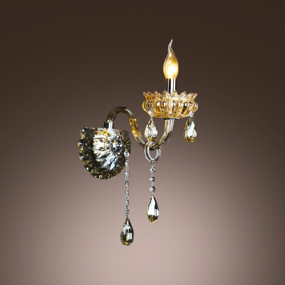 Elegant Single Light Wall Sconce with Graceful Curving Arm and Grand Crystal Droplets