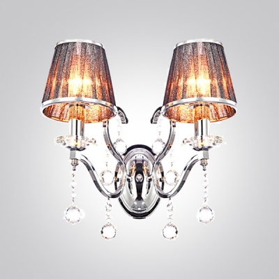 Enticing Glamorous Two Lights Fabric Shades Wrought Iron Wall Sconce Draped with Clear Crystal Balls