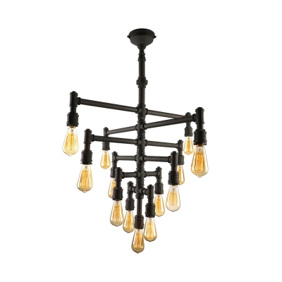 Flexible 6 Tiers Downward  Black LED Linear Pendant Chandelier