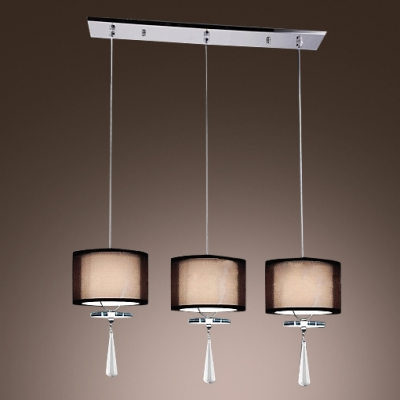 Glamorous Multi-light Pendant with Square Iron Base Features Three Lights in Array Adorned with Beautiful Faceted Crystal Drops