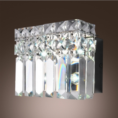 Glimmering Barth Wall  Light Adorned with Hand Cut Crystals Mkes Great Addition to Your Home.
