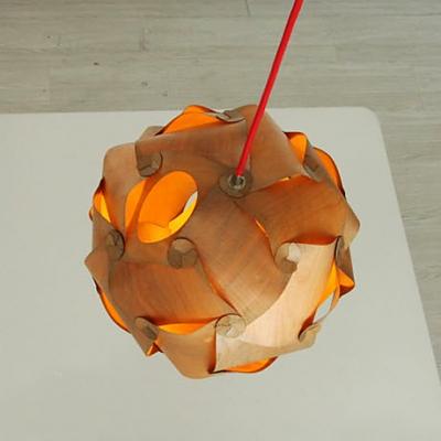 Globe Wood Sliced Shaded Pendant by Designer Lighting