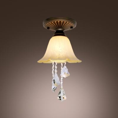 Hanging Glittering Crystal Droplets Scavo Glass Semi Flush Mount Ceiling Light