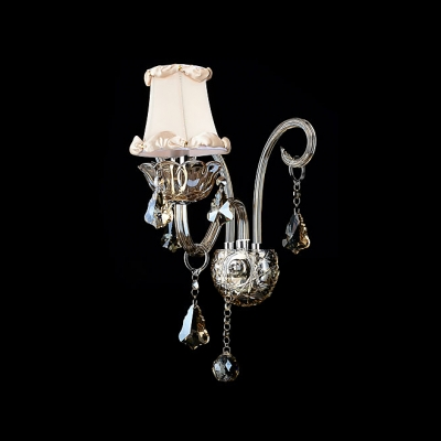 Ivory Fabric Shade Complements Pewter Scrolling Arms Single Light Wall Sconce
