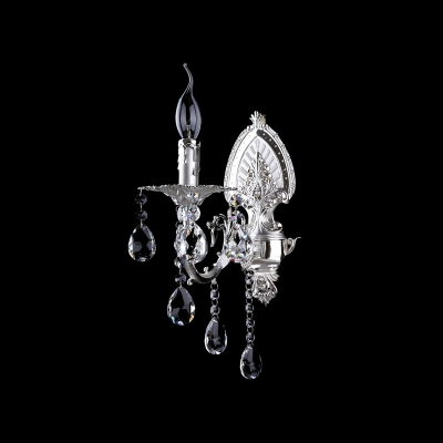Luxurious Modern Wall Sconce Features Delicate Silver Detailing Base and Crystal Beads with Single Light