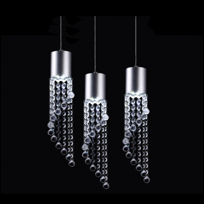 Make Statement with Exclusive Pendant Chandelier Featuring Three Chrome Finish Cascading Crystal