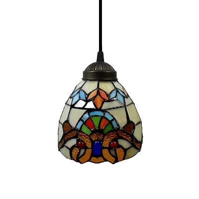 Renaissance Pattern Baroque Tiffany Art Stained Glass Style Mini Pendant Light