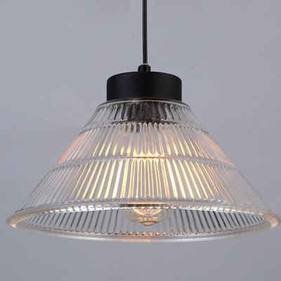 Vintage Cone Prismatic Glass LED Pendant Light