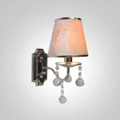 Shining 12'' Hight White Fabric Shaded Crystal Accent Made Wall Sconce Perfect for Living Room