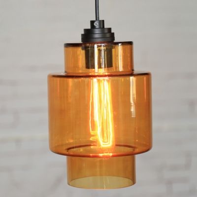 Gray/Orange Industrial Colored LOFT Glass Pendant Light